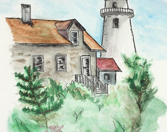 Original watercolor sketch. Lighthouse and house