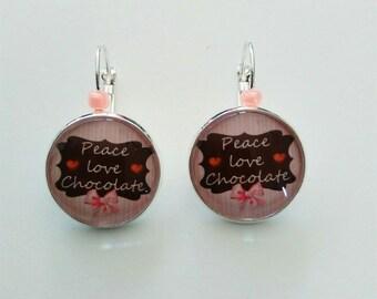 Earrings peace love and chocolate