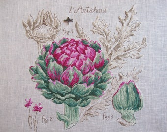 Embroidery of an artichoke shimmering