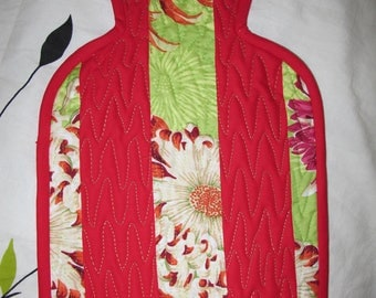 Flowers and Red quilted hot water bottle case
