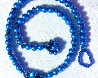 Majestic Midnight Blue Pearl Necklace