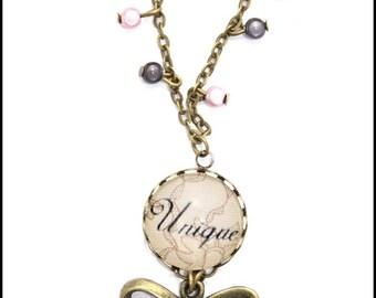pattern 'unique' lace glass cabochon pendant necklace