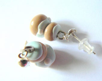 religious earrings in polymer clay blue and white glaze