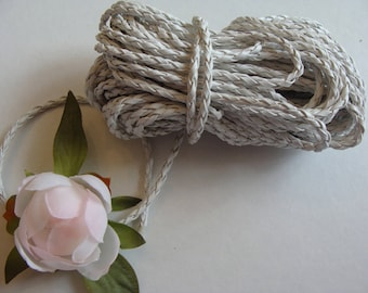 White genuine leather woven braided 3 mm diameter cord