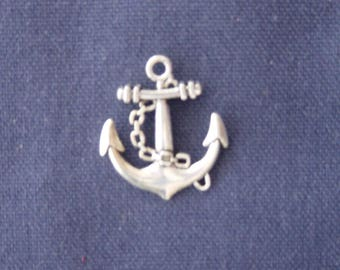 Navy anchor charm in silver