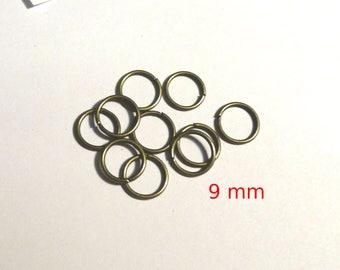 Set of 10 rings bronze 9 mm - lead and nickel free