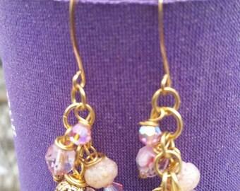 Pink Beaded Earrings SB33
