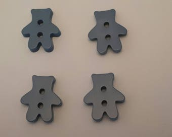 set of 4 buttons bear 20 x 17 mm blue m scrapbooking
