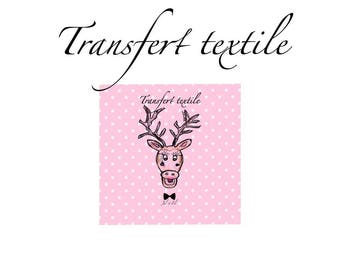 Textile transfer square pink deer illustration and graphic design Jul and wire 7cm