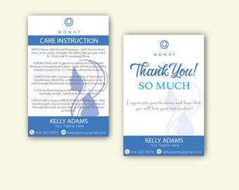 Monat Care Instruction, Monat Care Card, Monat Thank you card, Fast Free Personalization, Custom Monat Hair Care Card, mn112, mn113