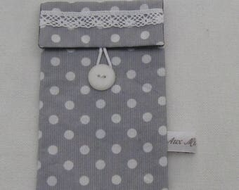 """Cover phone """"dot"""" grey coated cotton"""