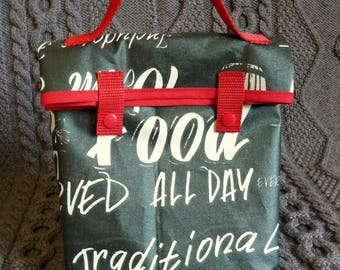 "Lunch bag or lunch ""slate bristro"" coated cotton bag"