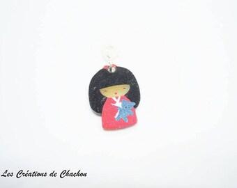 Shrink plastic kokeshi charm charm pendant
