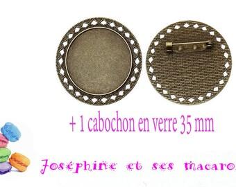 set 1 brooch + 1 cabochon 35 mm