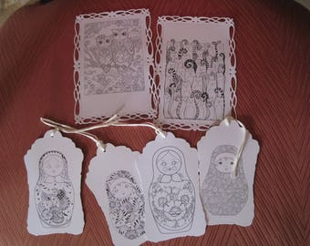 Cards, tags, coloring, cat, owl, Russian doll