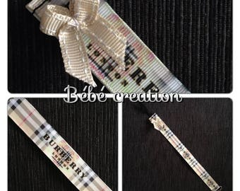 Brown Ribbon pacifier clip