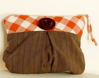Pouch / make up Tote cotton zip case