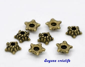 Set of 50 cups flowers 5mm bronze beads
