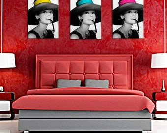 Triptych composed of black and white 1 splash of color headband Audrey hepburn 50 x 80
