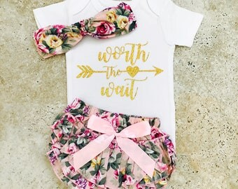Baby Girl Coming Home Outfit, Take Home Outfit Newborn Girl Clothes, Newborn Girl Outfit, Worth The Wait Outfit, Worth The Wait Baby Girl