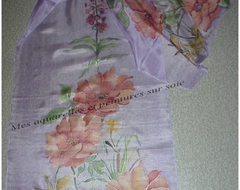 With flowers silk scarf