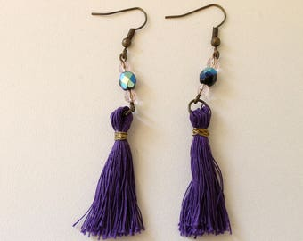 Earring beads and purple tassel