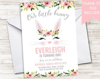 Bunny Invite Birthday Invitation Digital 1st First Easter Party Some Bunny Floral Watercolor ANY AGE 5x7 Rabbit