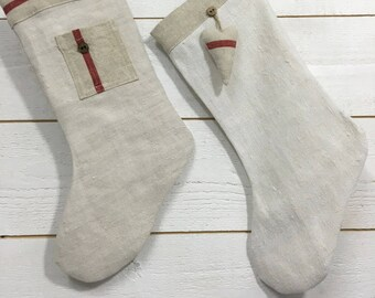 Christmas boot made of hemp and linen
