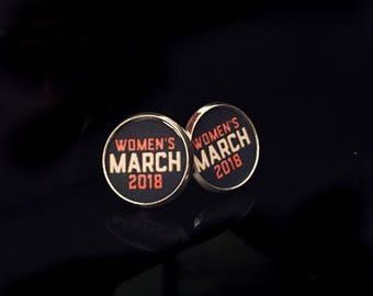 Women's March 2018 Clear Dome Metal Stud Earrings