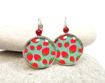 Turquoise red Strawberry earrings