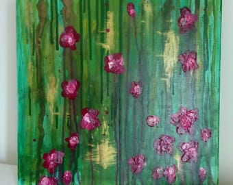 floral abstract painting acrylic abstract painting green