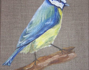 Oil on canvas - blue tit