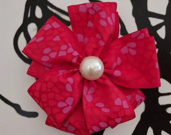 Pearl Studded Red Double Layer Flower Hair Bow