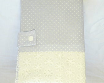 Protects health record has grey white dots and lace