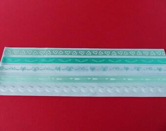 5 stripes ribbons green adhesive heart bows