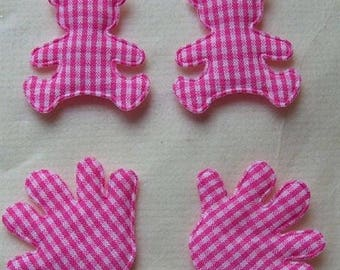 10 FABRIC EMBELLISHMENTS BEARS AND PINK HANDS