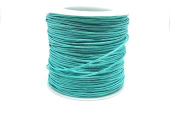 5 m fine turquoise waxed thread 1 mm jewelry making