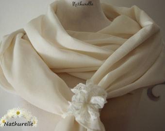 Big Ecru shawl and matching flower