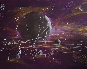 """Acrylic paint - cosmos - abstract - """"Purple space"""""""