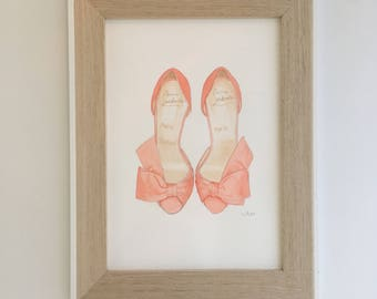 Watercolour painting of pink Christian louboutin shoes