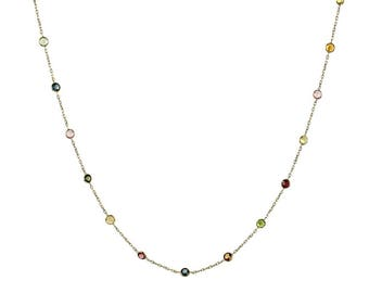 14k Yellow Gold Handmade Station Necklace With Tourmaline Gemstones By the Yard 16 - 20 Inches