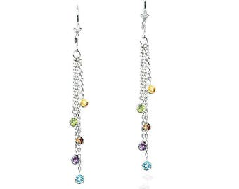 14k White Gold Chandelier Earrings with Round Gemstone Stations By The Yard