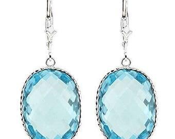 14K White Gold Handmade Gemstone Earrings With Large Oval Blue Topaz Gemstones