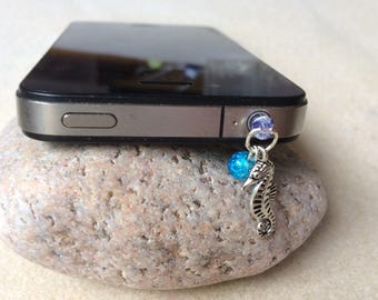 Silver Seahorse Dust Plug Phone Tablet Dangle Charm With A Turquoise Bead Handmade