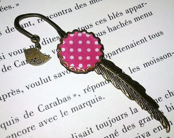 Bookmark feather - bronze - pink and white - dots