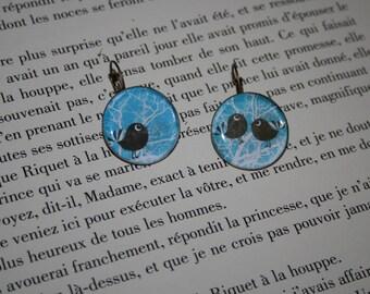 Earrings Cabochon - fancy - 'my little birds'