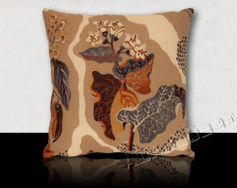 "Square design pillow in linen embroidered ""HARVEST"" autumn leaves and flowers."