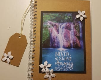 A5, Notebook, Hand Crafted, Waterfall, Notes, Journal