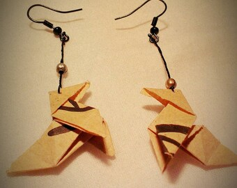 Origami cranes kraft ethnic earrings