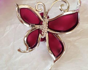 1 Pearl Butterfly Epoxy Fuschia/argente 60 X 51 MM